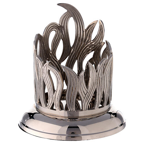 Nickel-plated brass candle holder with flames 4 in diameter 1