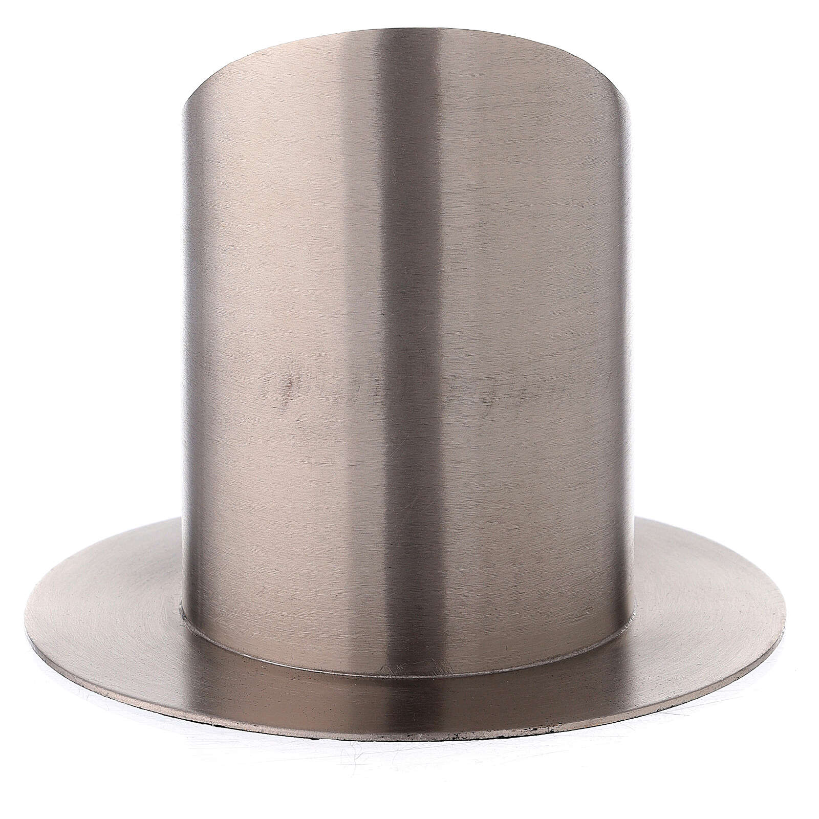Nickel-plated brass candle holder satin finish mitered open socket 3 in 3