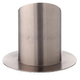 Nickel-plated brass candle holder satin finish mitered open socket 3 in s3