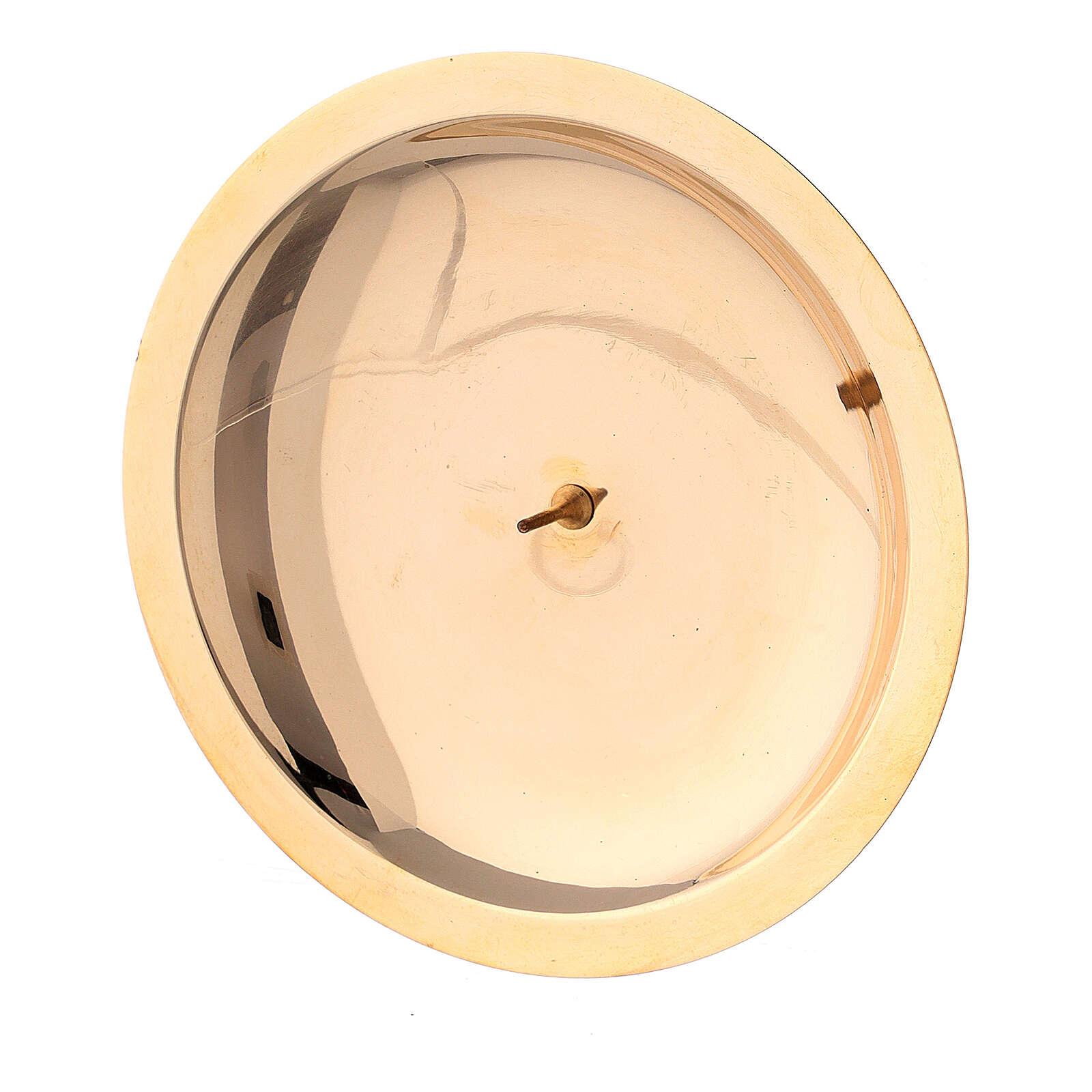 Piatto portacandela punzone ottone lucido 10 cm 4