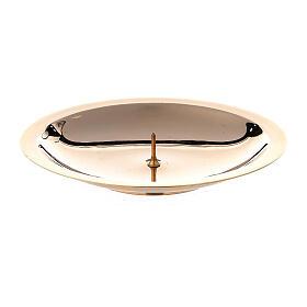 Piatto portacandela punzone ottone lucido 10 cm s1