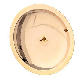 Piatto portacandela punzone ottone lucido 10 cm s2