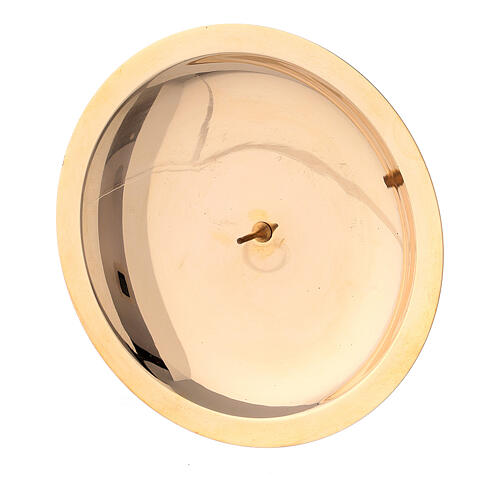Piatto portacandela punzone ottone lucido 10 cm 2