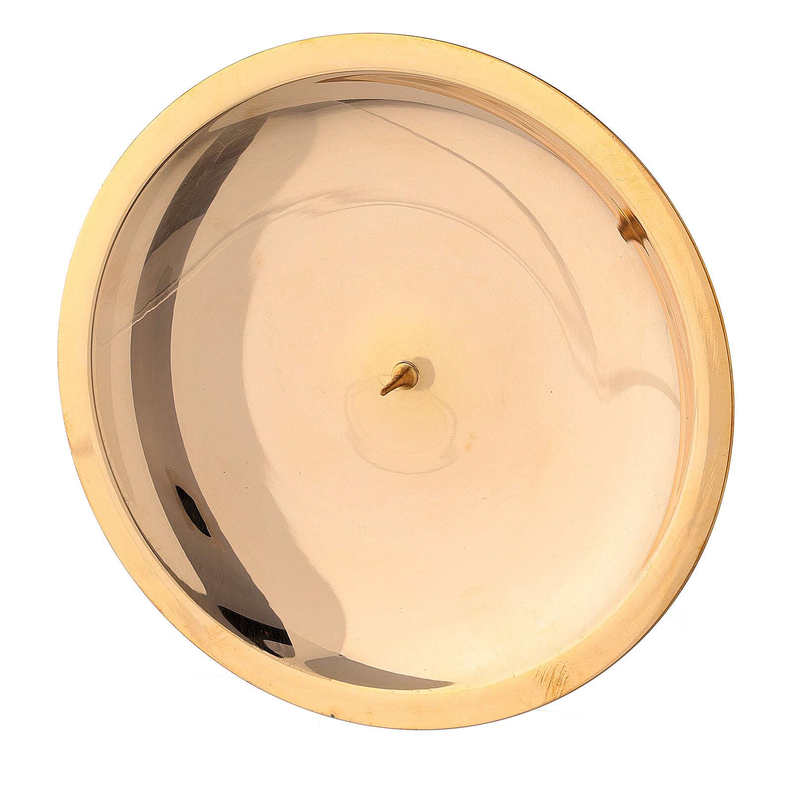 Piatto candela punzone ottone lucido 13 cm 4