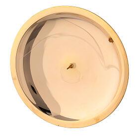 Piatto candela punzone ottone lucido 13 cm s2