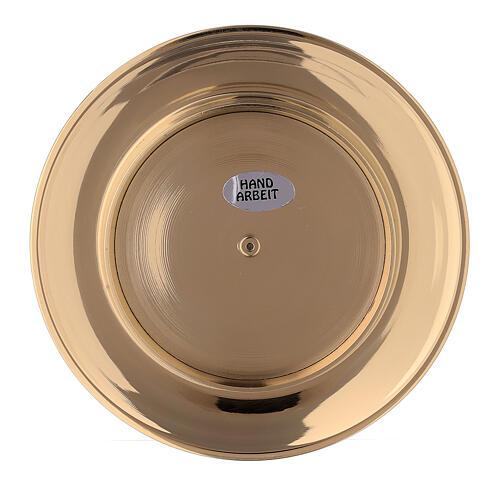 Plato portavela cavidad latón dorado 8 cm 4