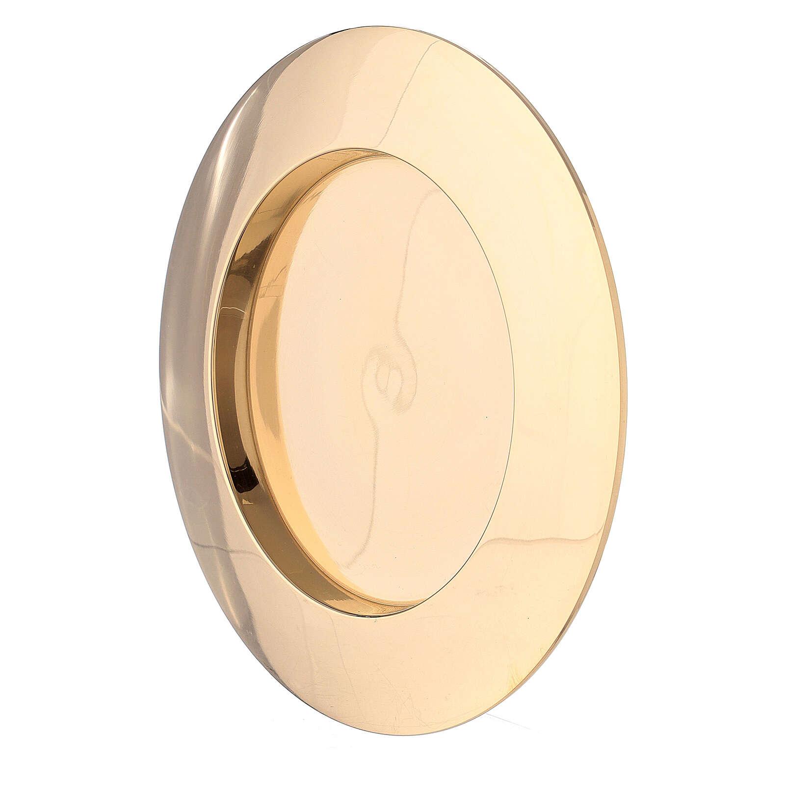 Piatto portacandela incavo ottone dorato 8 cm 4