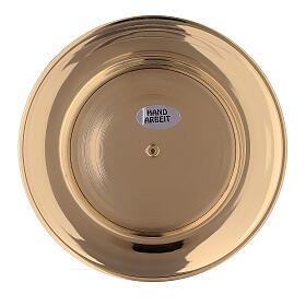 Piatto portacandela incavo ottone dorato 8 cm s4