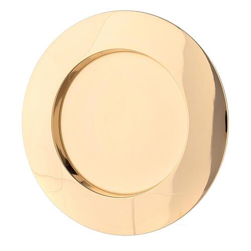 Piatto portacandela incavo ottone dorato 8 cm 1