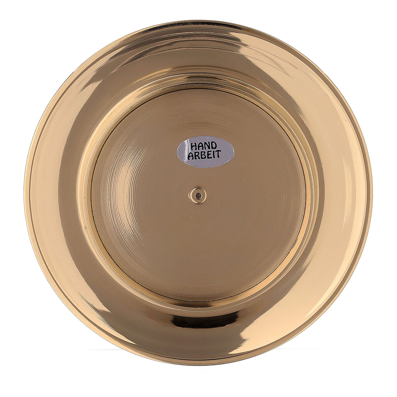 Concave candle holder plate in gold plated brass 3 in 4