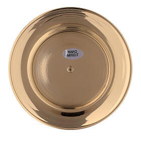 Concave candle holder plate in gold plated brass 3 in s4