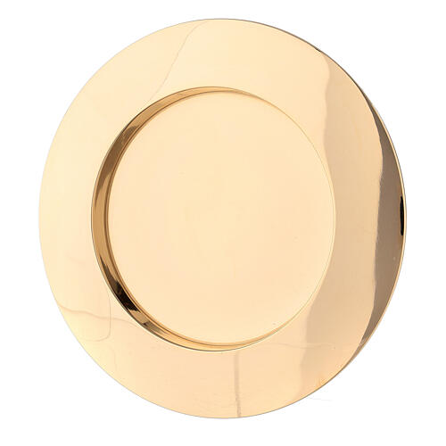 Concave candle holder plate in gold plated brass 3 in 1