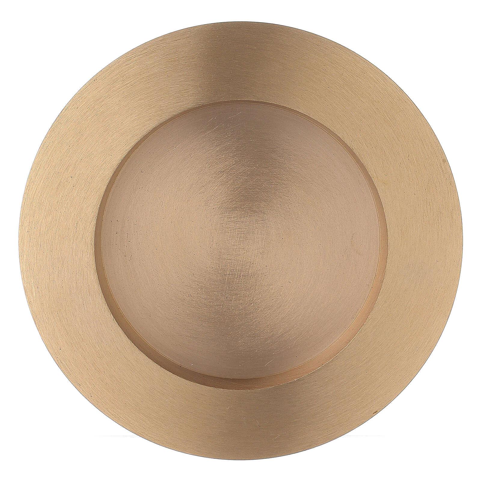 Piatto portacandela rotondo 8 cm ottone satinato 4