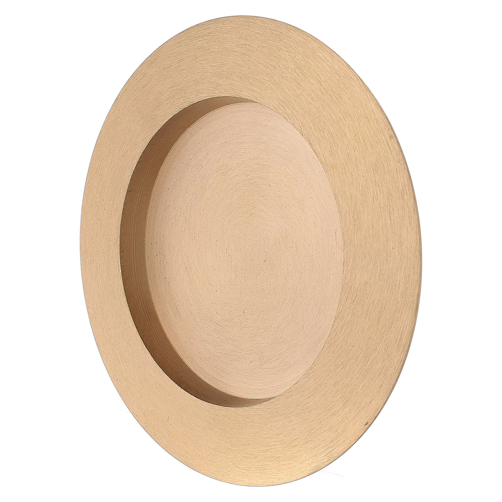 Round candle holder plate 3 in satin finish brass 4