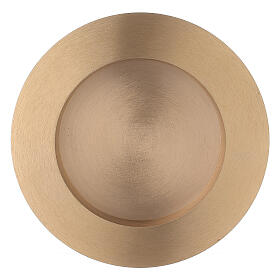 Round candle holder plate 3 in satin finish brass s1