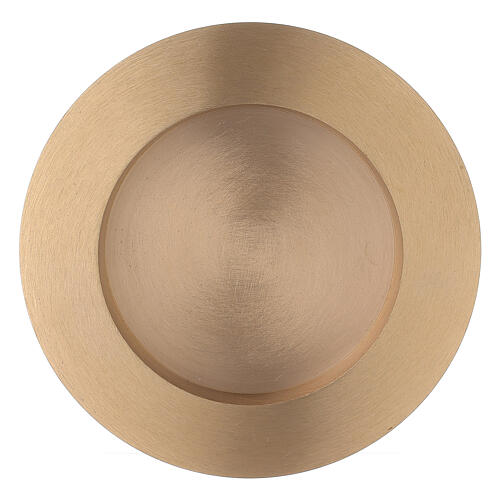 Round candle holder plate 3 in satin finish brass 1