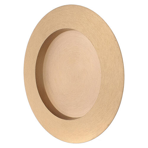 Round candle holder plate 3 in satin finish brass 3