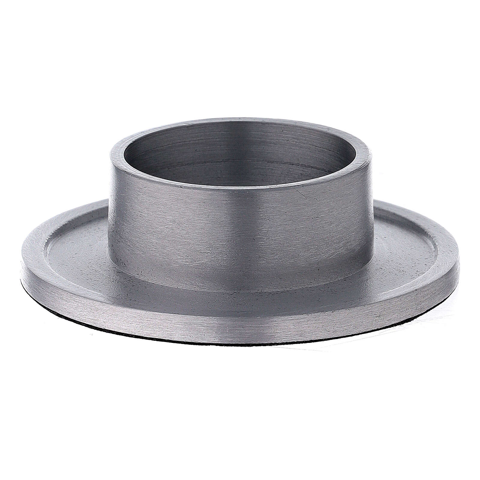 Satin finish aluminium candle holder with socket 2 in 3