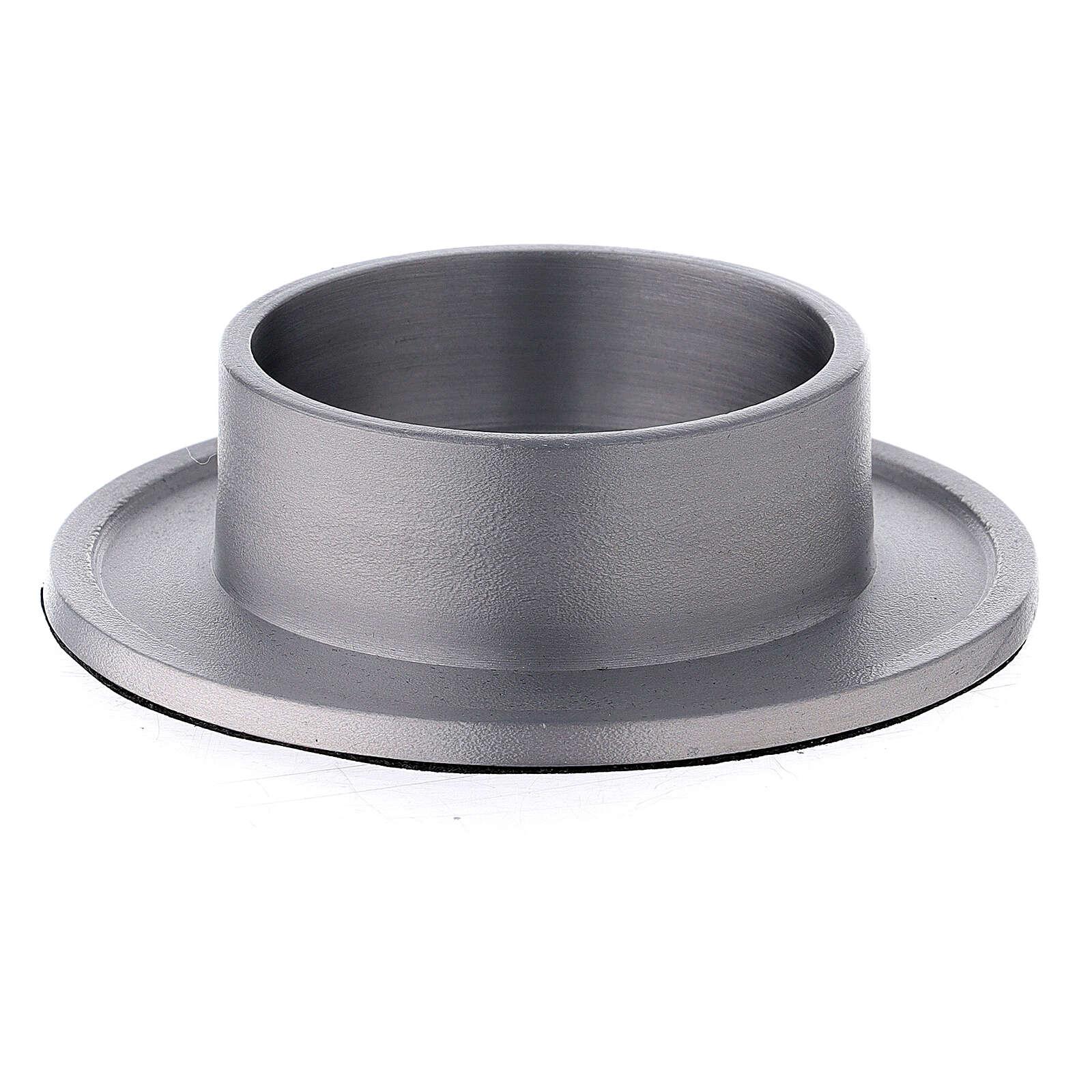 Base portavela aluminio satinado 6 cm 3