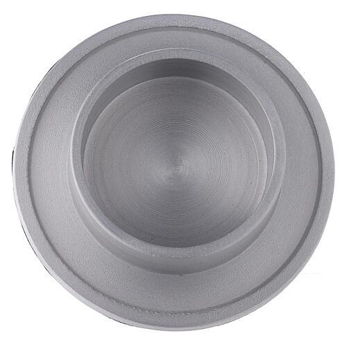 Base portavela aluminio satinado 6 cm 2