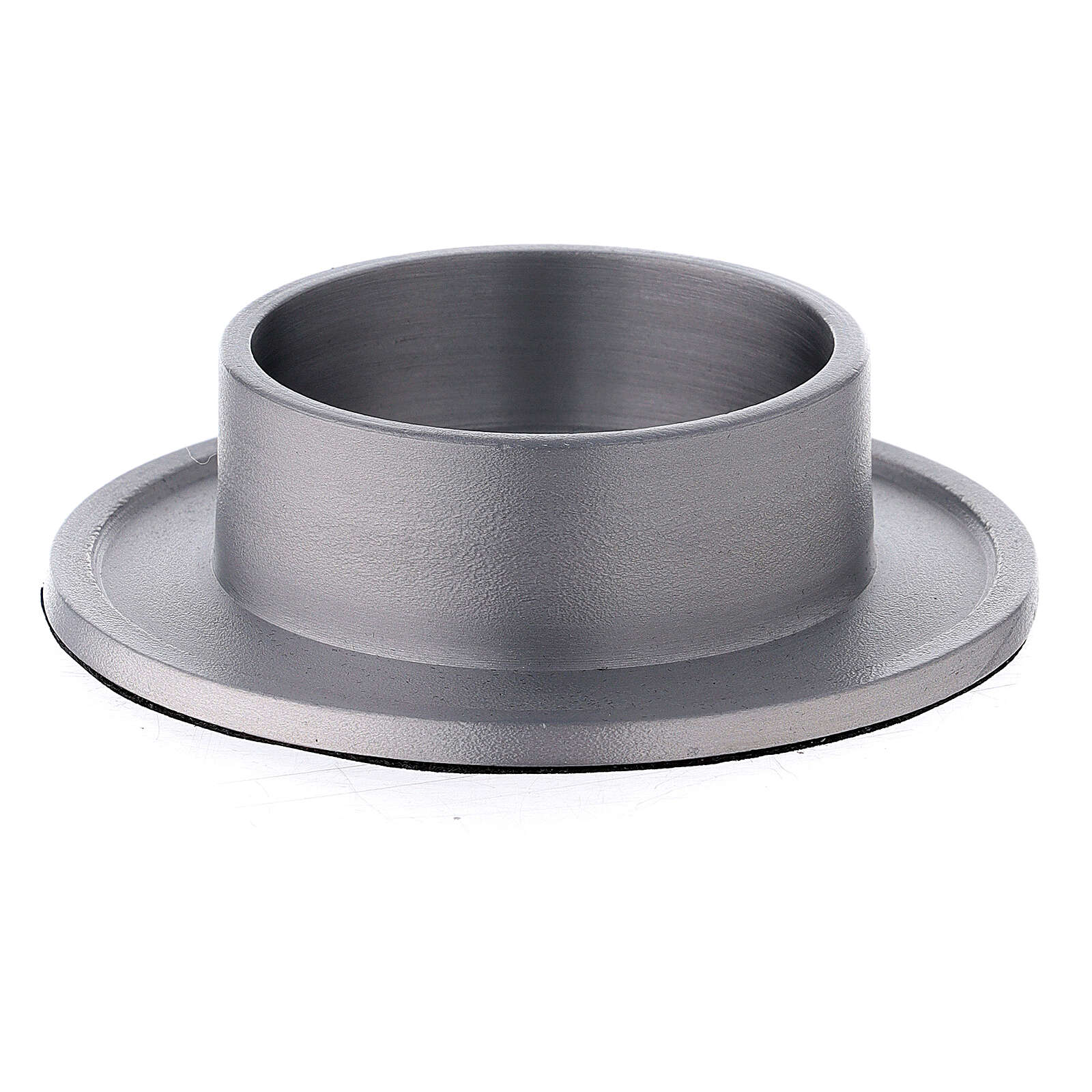 Aluminium candle holder with satin finish 2 1/2 in 3