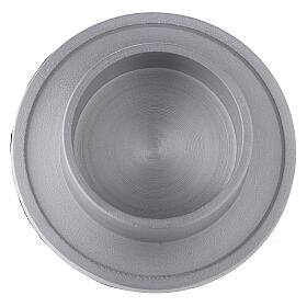Aluminium candle holder with satin finish 2 1/2 in s2