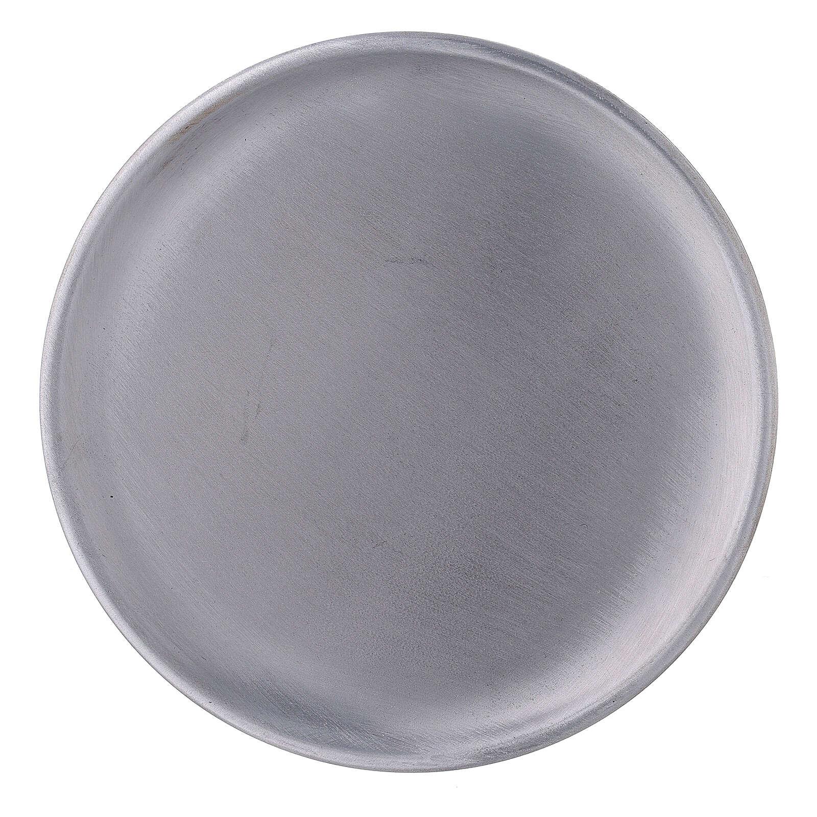 Plato portavela aluminio satinado 14 cm 3