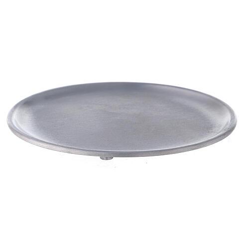 Plato portavela aluminio satinado 14 cm 1