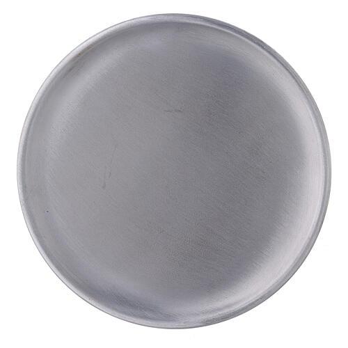 Plato portavela aluminio satinado 14 cm 2