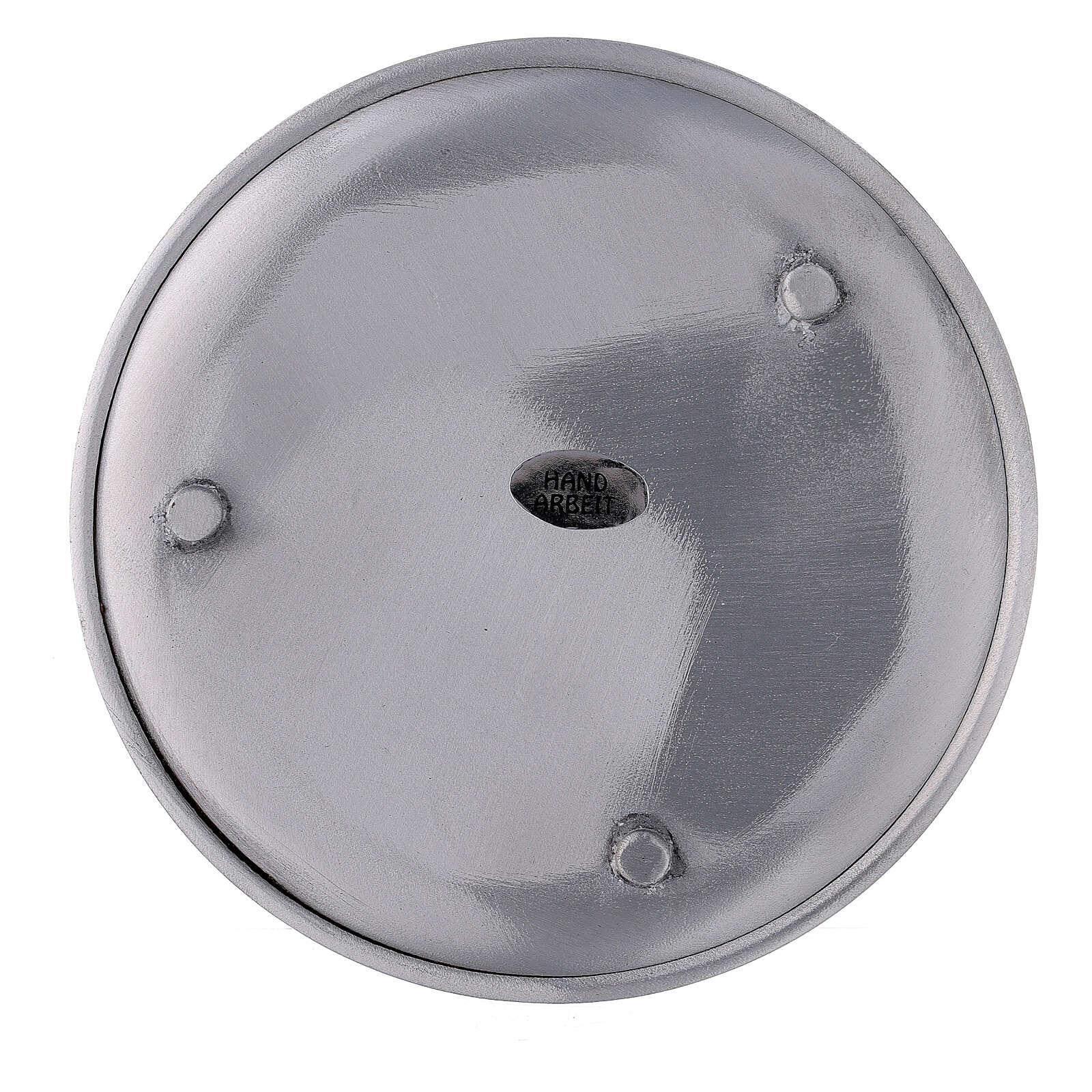 Piatto portacandela alluminio satinato 14 cm 3