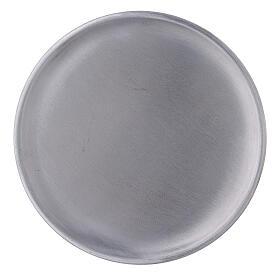 Piatto portacandela alluminio satinato 14 cm s2