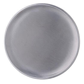 Aluminium candle holder plate with satin finish 5 1/2 in s2
