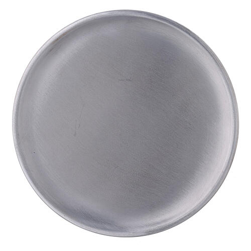 Aluminium candle holder plate with satin finish 5 1/2 in 2