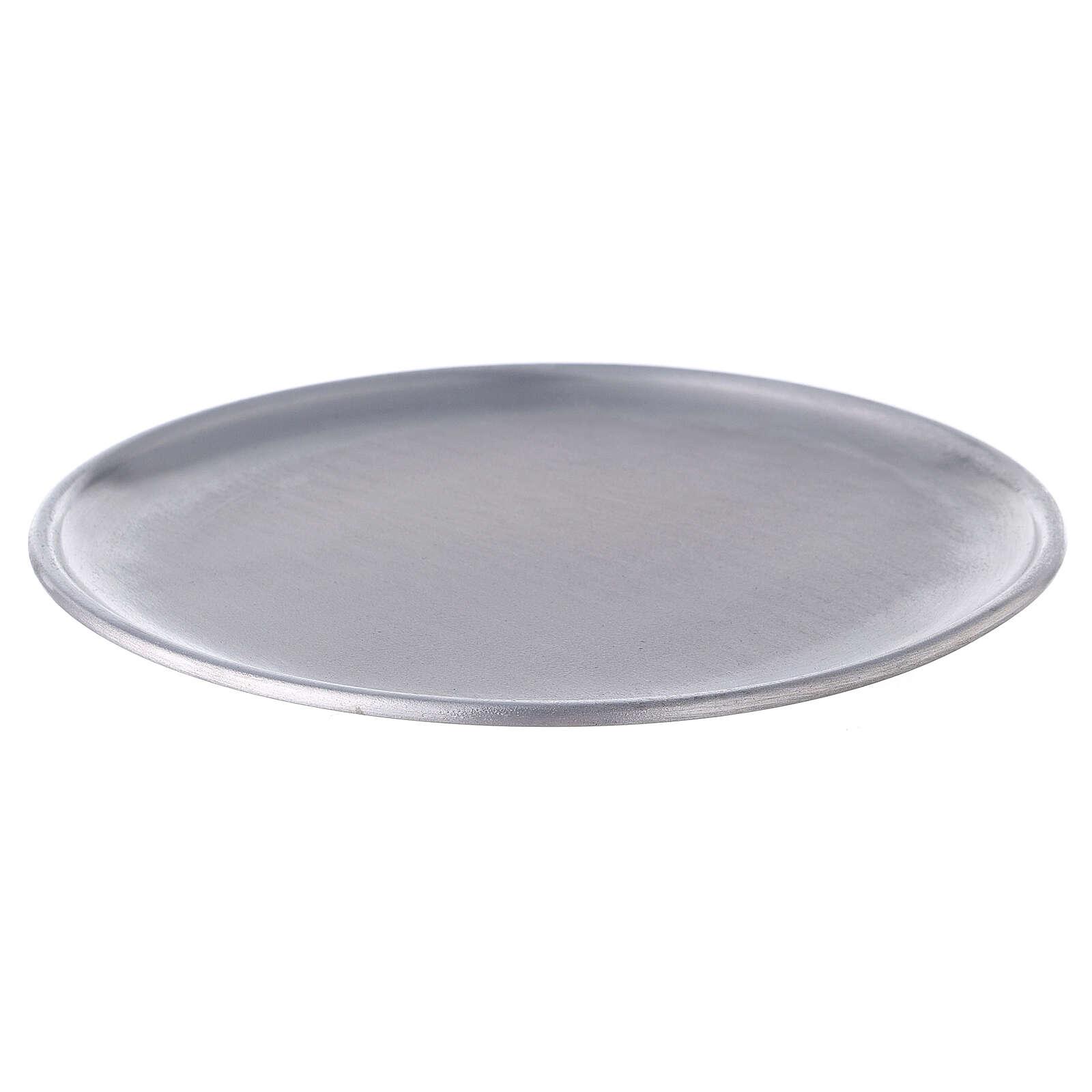 Portacandela piatto alluminio 17 cm piedini 3