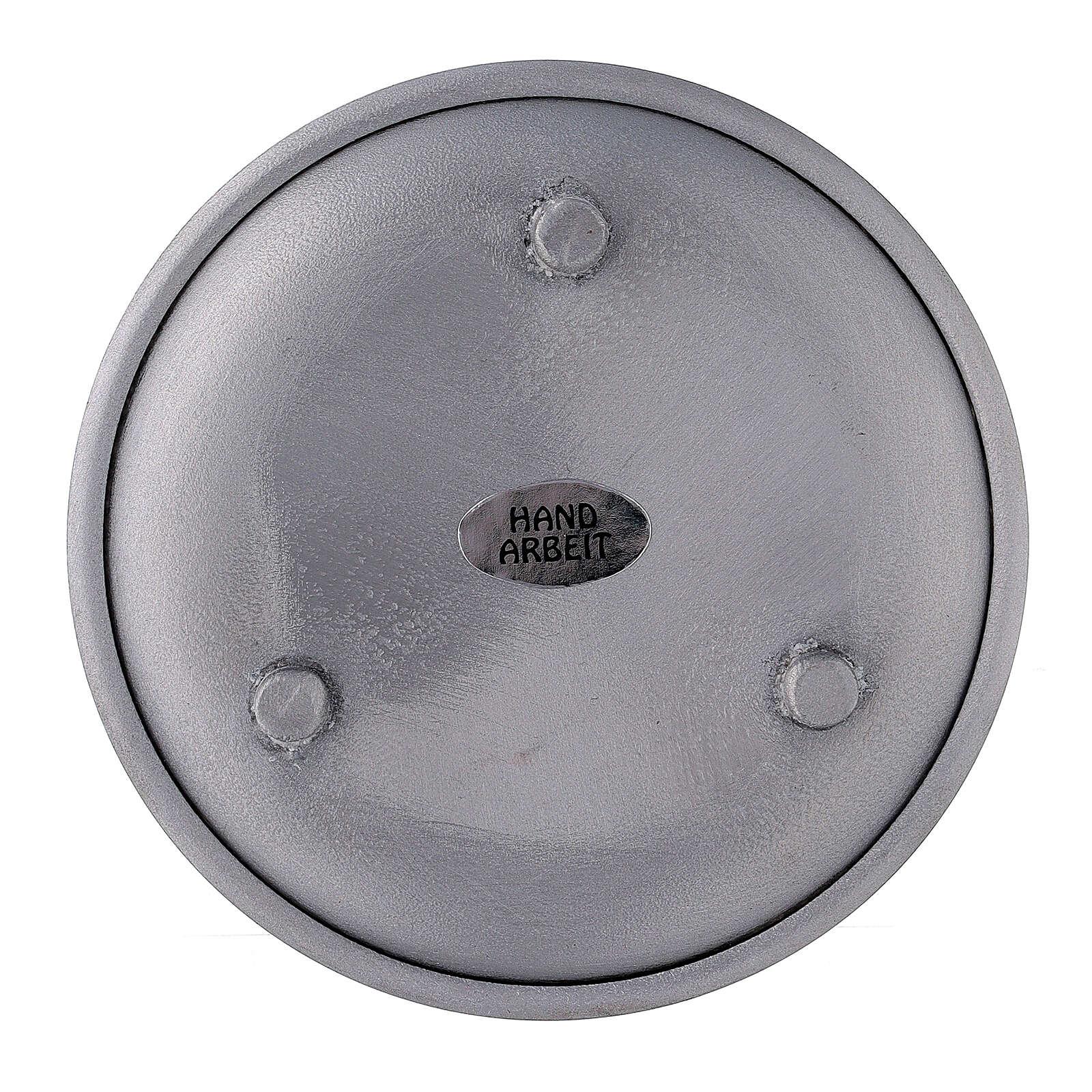 Aluminium candle holder raised edges and feet 4 in 3
