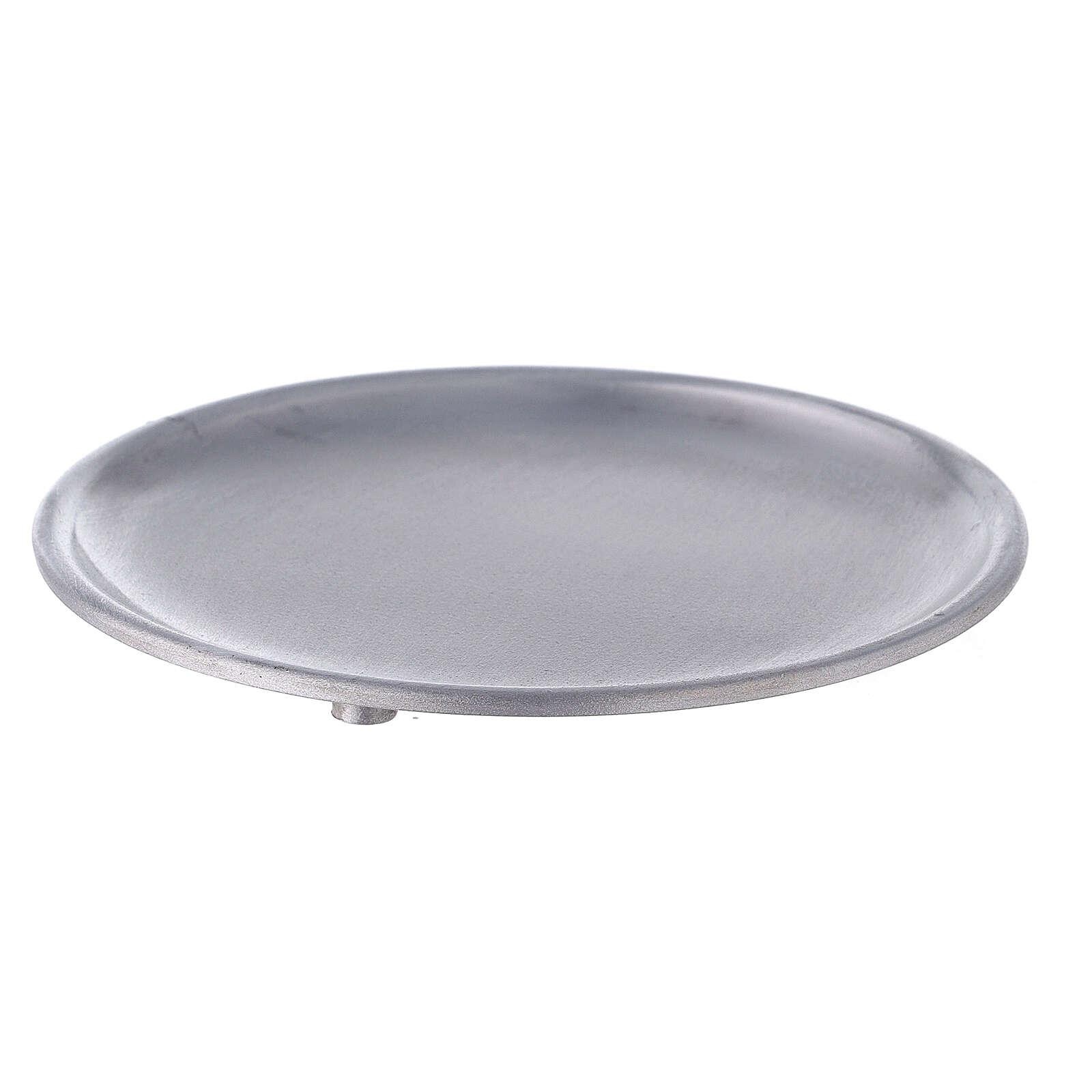 Piatto portacandela 12 cm alluminio opaco 3
