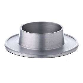 Aluminium candle holder with satin finish 2 3/4 in s1
