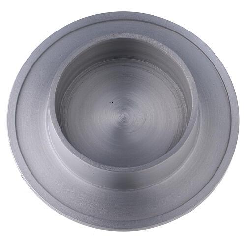 Portacandela alluminio satinato bordi 8 cm 2