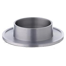 Aluminium candle holder satin finished raised edges 3 in s1