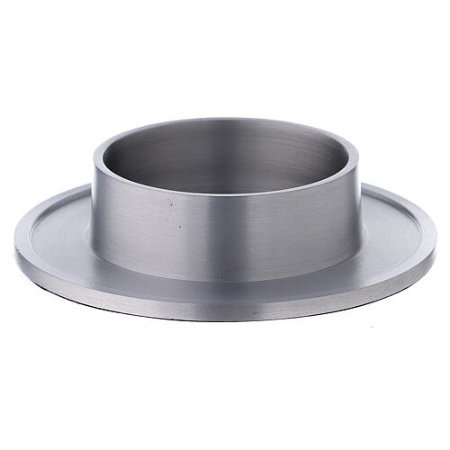 Aluminium candle holder satin finished raised edges 3 in 1