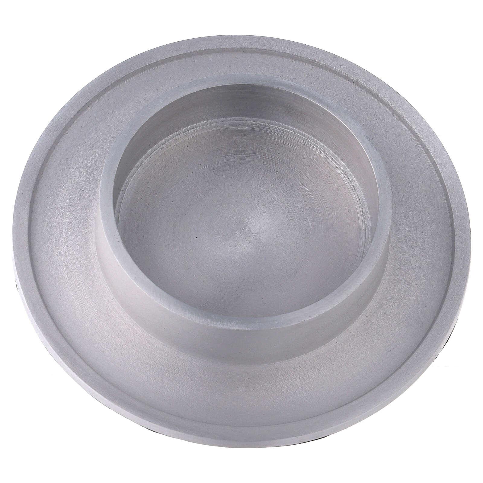 Portavela aluminio satinado redondo 10 cm 4