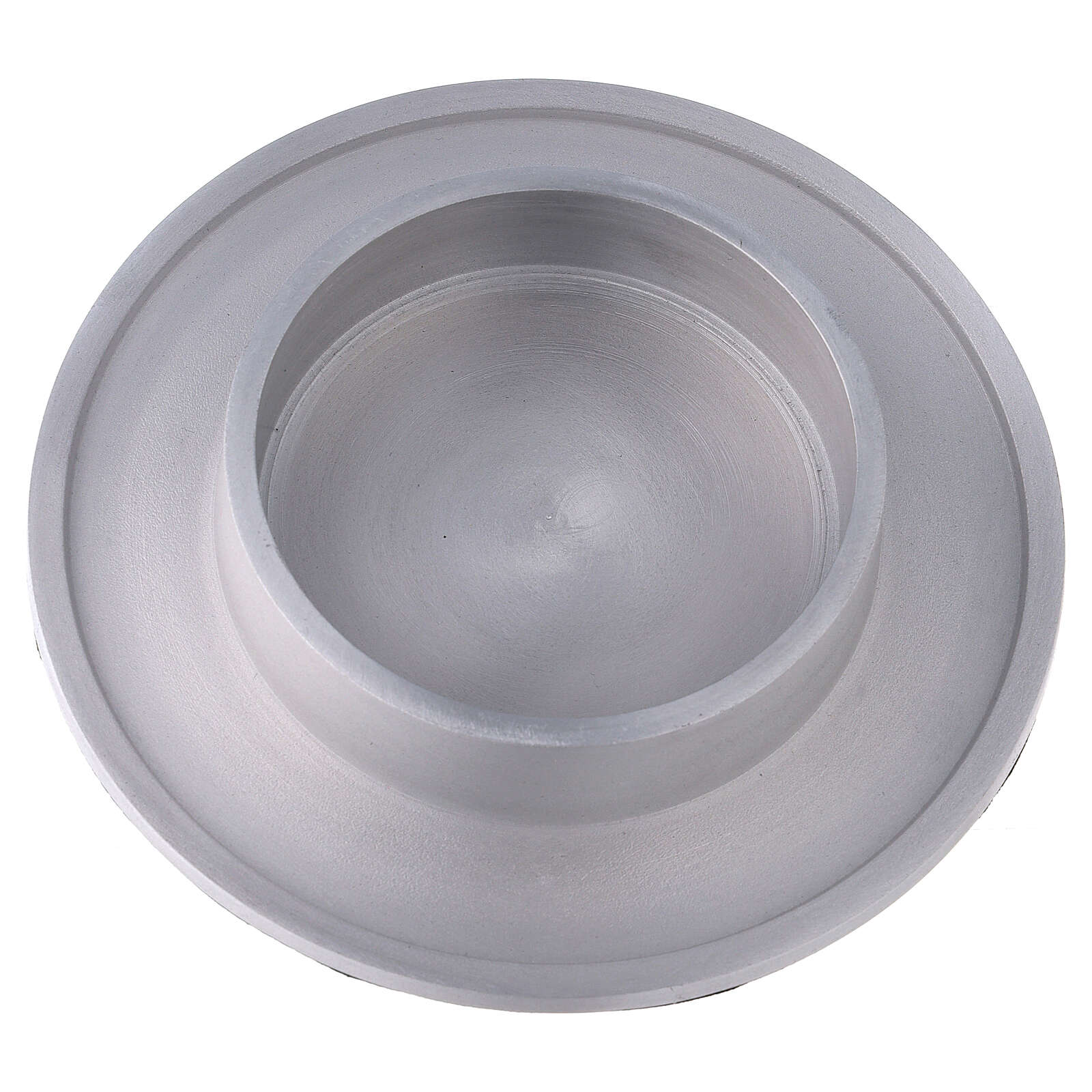 Round candle holder of aluminium with satin finish 4 in 4
