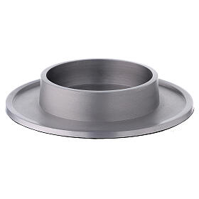 Round candle holder of aluminium with satin finish 4 in s1