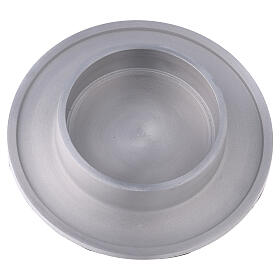 Round candle holder of aluminium with satin finish 4 in s2