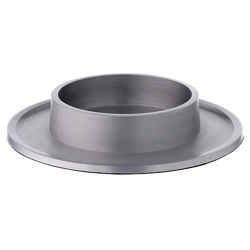 Round candle holder of aluminium with satin finish 4 in 1