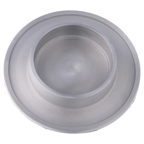 Round candle holder of aluminium with satin finish 4 in 2