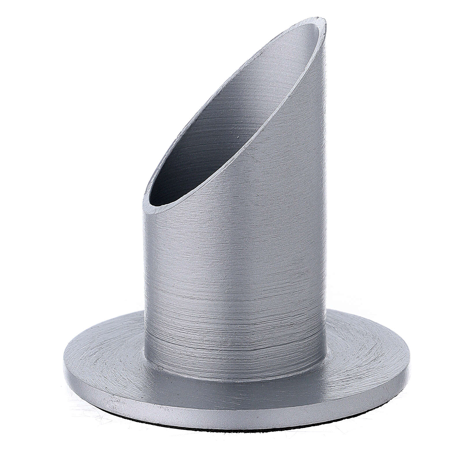 Aluminium candle holder satin finish with mitered socket 1 1/2 in 3