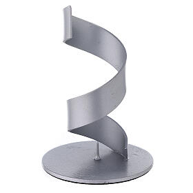 Candleholder with brushed aluminium spiral, 4 cm s1