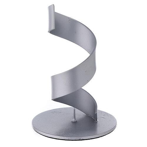 Candleholder with brushed aluminium spiral, 4 cm 1
