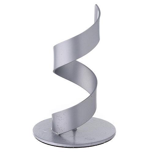 Candleholder with brushed aluminium spiral, 4 cm 2